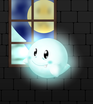 Boo in a dark and snowy night by BenstarDeviant