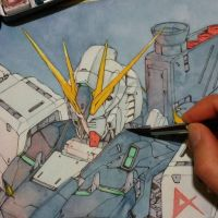 Painting Nu Gundam (wip) by Trunnec