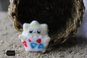 needle felted togepi for sale by FluffyParcel