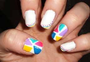 White With Dots And Tiangles Of Color by lettym