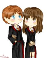 Ron and Hermione by ThePastelHobbit