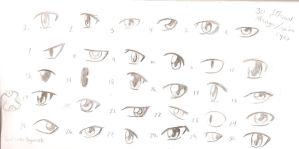 30 Different Manga/Anime Eyes by SoulEaterRagnorok