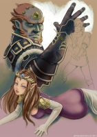 The Legend of Zelda: Ganondorf and Zelda WIP by jaimito