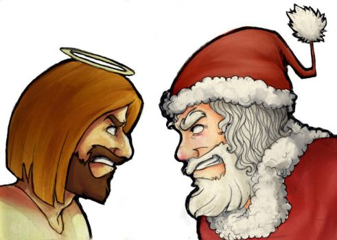 Jesus vs Santa by cougermiau