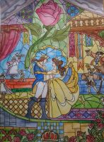 Beauty and The Beast Stained Glass Window by Count-Your-Rainbows