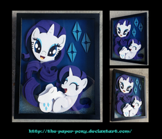 Commission:  Laughing Rarity Portrait Shadowbox by The-Paper-Pony