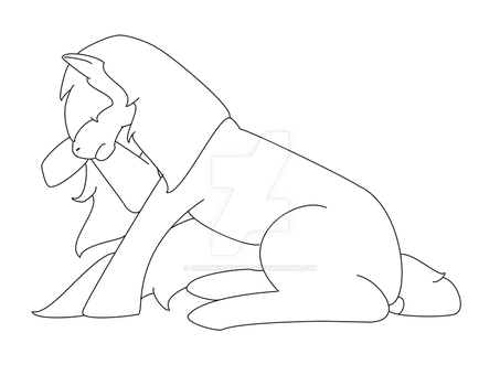 MLP Sad lineart by OonaWingedWolf