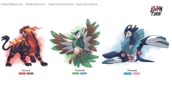 My Alola starters final evolution  by logancure