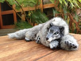 Gray wolf soft bodied doll. by CreaturesofNat