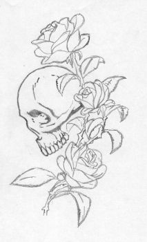 skull with a rose by stoned-hippie