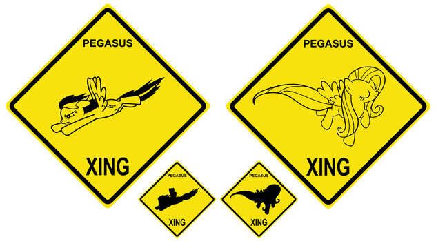 MLP Pegasus Xing Sign (Rainbow Dash, Fluttershy) by MusicalWolfe