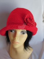 Red Crochet Hat with Beautiful Flower by MagicalString
