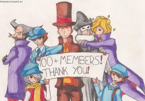 LaytonYaoi 100+ Members by SamCyberCat