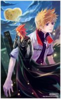 Kingdom Hearts: Axel and Roxas by SheCow