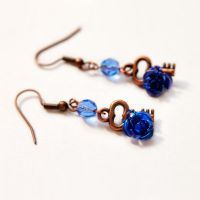 Blue Rosy Earrings - Sold by DreamyElegance