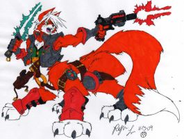 Fox, Taur Warrior: Colored by dragonheart07