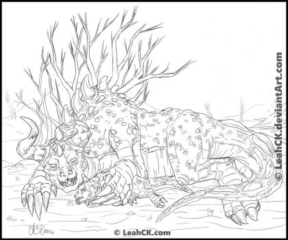 Savage Deathclaw Mom: Cuddle Time by LeahCK