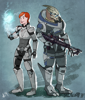 Commission: Ellie Shepard and Garrus 2 by FlockofFlamingos