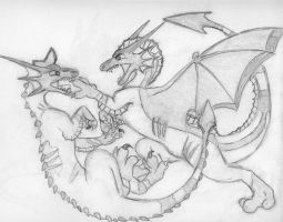 Draco vs Darkclaw: A Fight Between Two Leaders by Dinoboy134