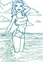Girl at the Beach: Line Art by FallenAngelV