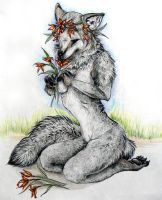 Fox with Flowers by FeraCoyote