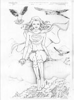 Supergirl in the clouds by Vala316