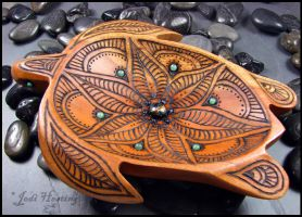 Offering Bowl - wood burned - Turtle Totem by andromeda