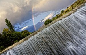 waterfall and rainbow by shljivo