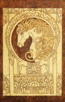 Noble Horse Art Nouveau style pyrography plaque by YANKA-arts-n-crafts