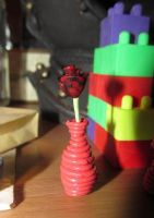 Dark Valentine's Rose with Vase by damnheliotrope