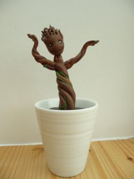 Polymer clay Groot by Nelimae