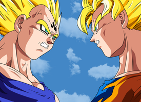 Goku Vs Vegeta by dragonlucky86
