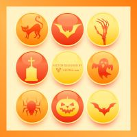 Halloween Button Collection Free Vector by vecree