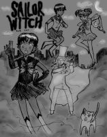 Sailor Witch...And Cat by clemon