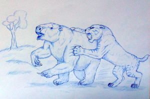 Smilodon and Ground Sloth by Javor911