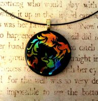 Fox Fire Inverted Fused Glass Pendant by FusedElegance