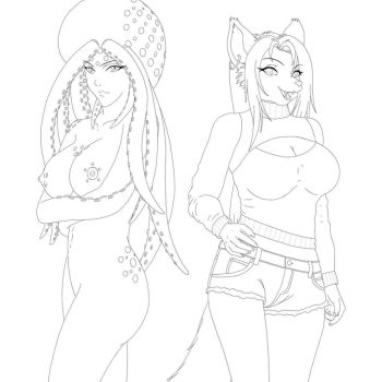 Akiko and Tigress- Line Art by anthrokidnapper