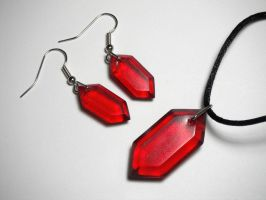 Rupee Earring and Pendant Set (red) by ChinookCrafts