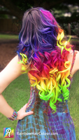 Rainbow Hair Extensions Hand Dyed by Anya Goy by littlehippy