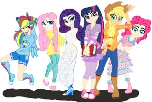 Humanized My Little Pony -Colored- by CooperGal24