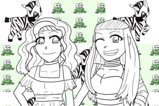 Courtney and Kaitlin's Grad Gift -lineart- by Artist903