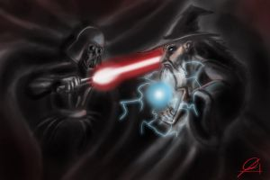 Darth Vader vs. Gandalf by sharioon