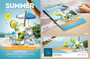 Summer Beach Cocktail Flyer Psd Print Template by dennybusyet
