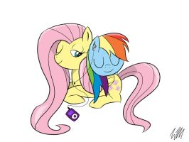Fluttershy and Rainbow Dash by MrFloppemz