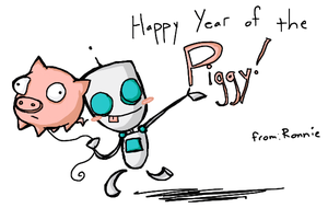 HAPPY YEAR OF THE PIGGY -Gir by DannyPhantomFreek
