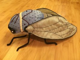 Cicada Soft Sculpture in Blue and Silver by mollyburgess