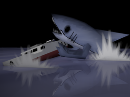 boat vs mutant shark by durandTHEcreator