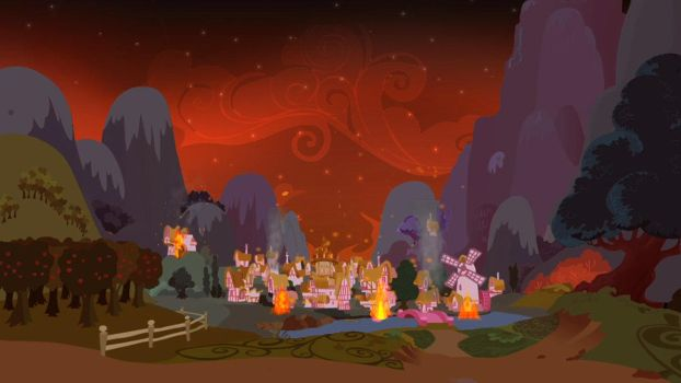 Ponyville Burning by MysteryMelt