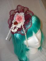 Roset Crimson Cream Fascinator by smallrinilady