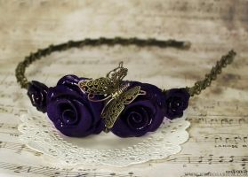 Purple Butterfly Rose Headband by Necrosarium